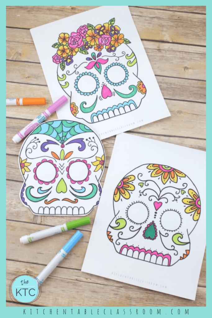 sugar skull masks to color