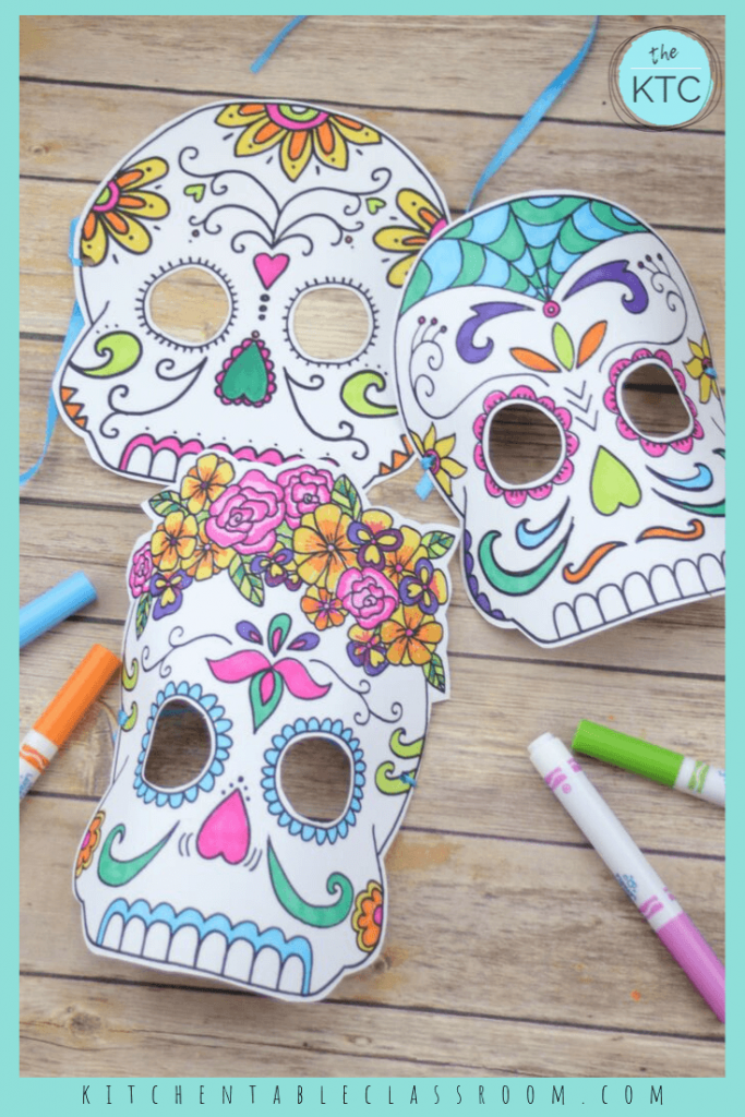 free sugar skull masks to print