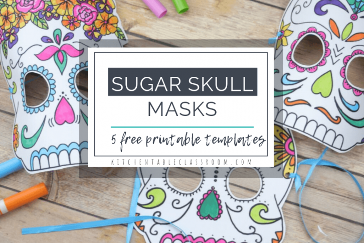 Learn about the Mexican Day of the Dead celebration with these free printable Day of the Dead masks. Choose from five printable sugar skull mask designs.