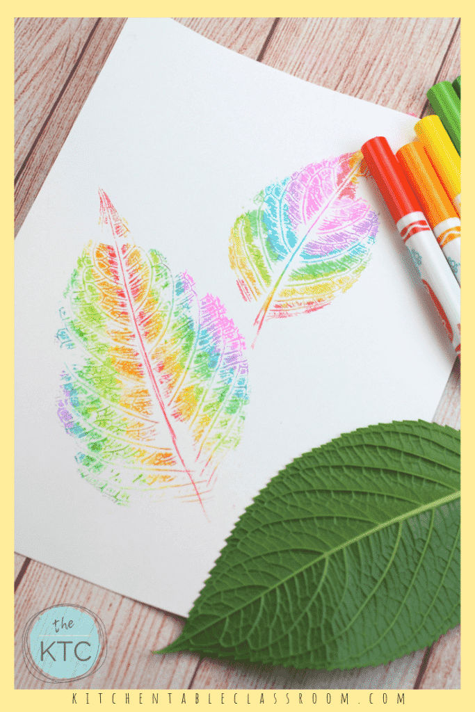 Use washable markers to create these colorful rainbow leaf prints. This is an easy rainbow craft perfect for introducing the colors of the rainbow! #rainbow