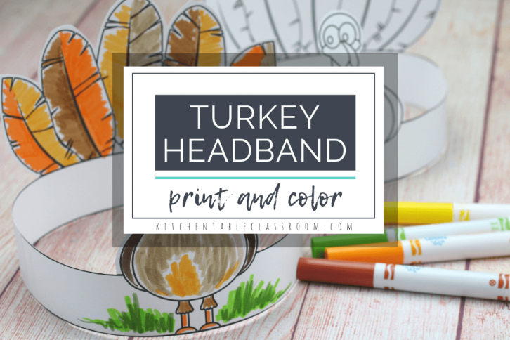 This free printble turkey crown is a fun and easy Thanksgiving craft that your little one will love wearing! #turkeycraft #Thanksgivingcraft #craftsforkids