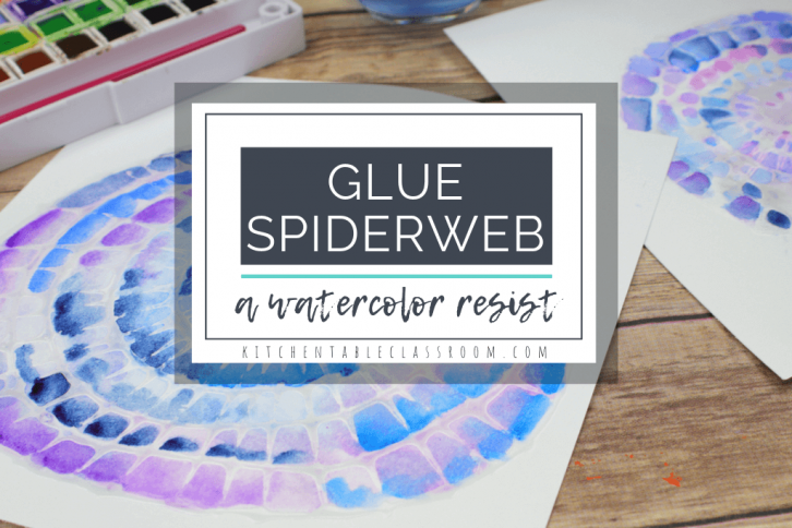 Draw a glue spiderweb using a popular cookie decorating technique as inspiration. Then add a bright splash of color with a watercolor wash! #spiderweb