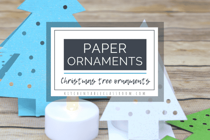 These paper Christmas tree ornaments come together quickly with just card stock! This easy Christmas craft for kid is perfect on the mantle or holiday table