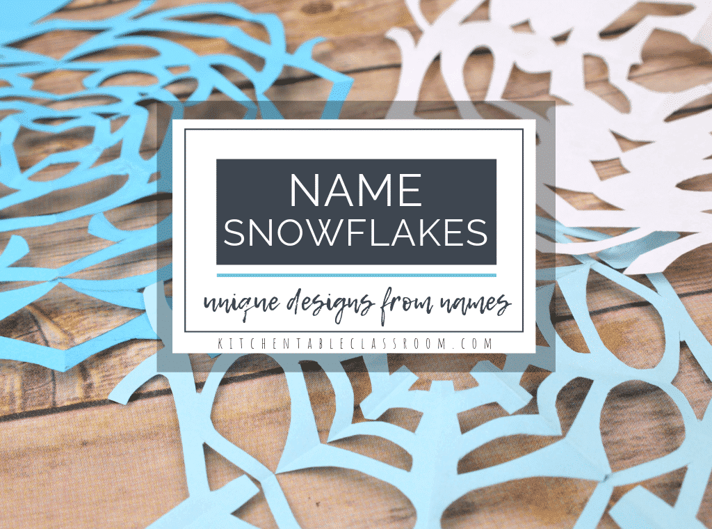 Try this twist on old fashioned cut paper snowflakes by making these fun name art paper snowflakes. This easy winter art project is simple and fun!