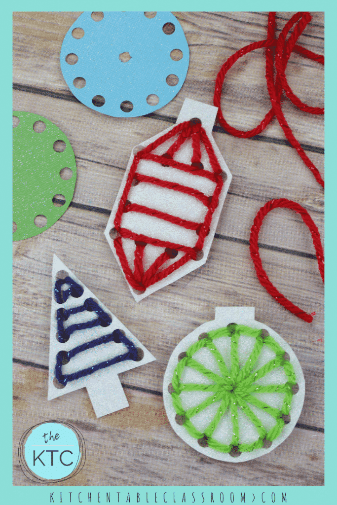 These paper Christmas tree ornaments are a great place to practice basic skills and look so pretty hanging on the Christmas tree. #christmascrafts