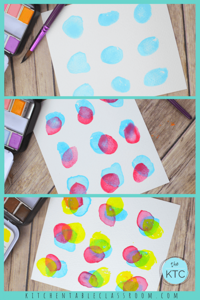 primary color watercolors dots make secondary colors by glazing