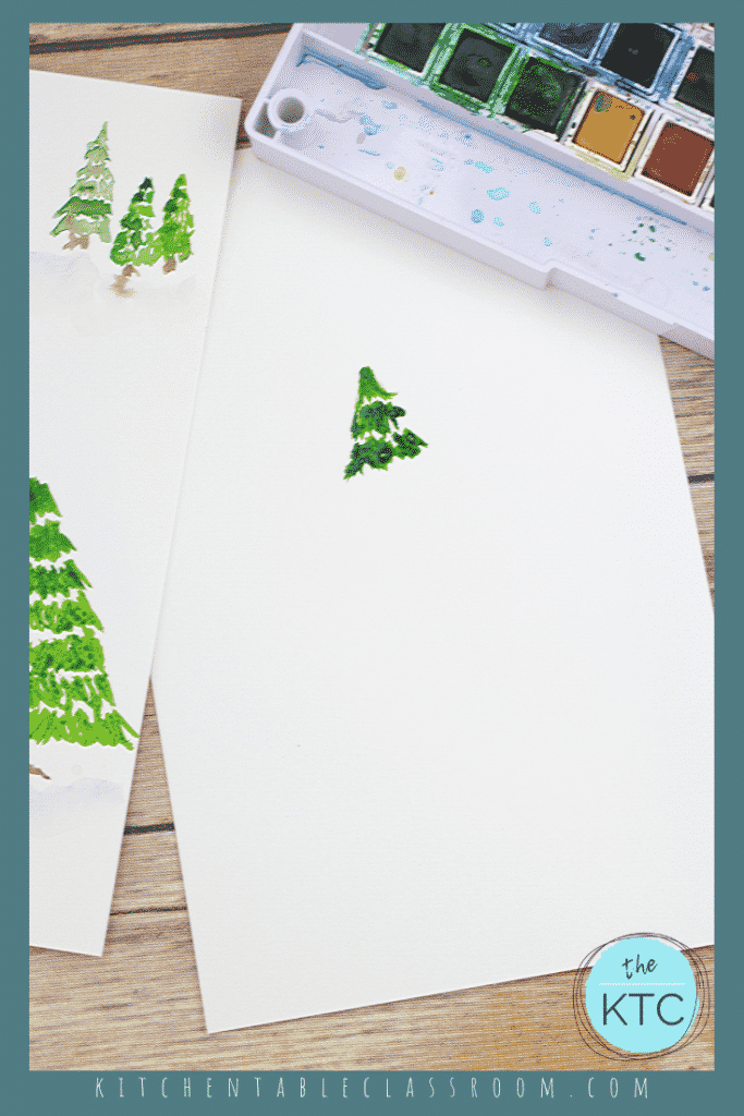 Use this step by step video tutorial create your own pine tree painting. Grab the watercolor paints and start painting! #paintingforkids #watercolorsforkids