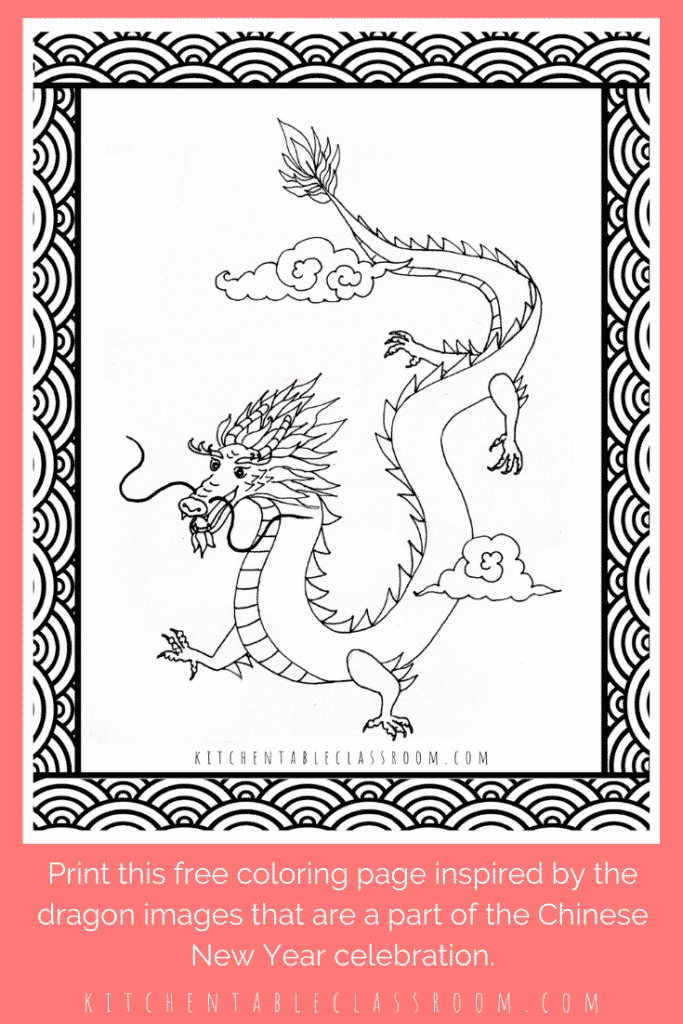 Chinese New Year dragon coloring page for kids