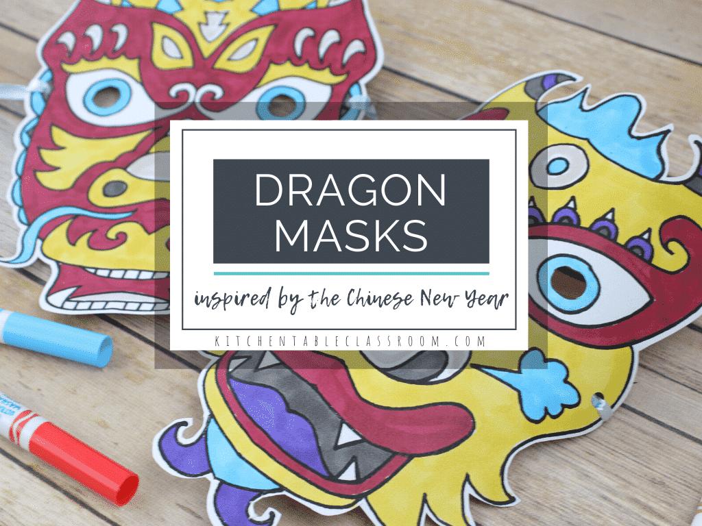 printable Chinese dragon masks to color