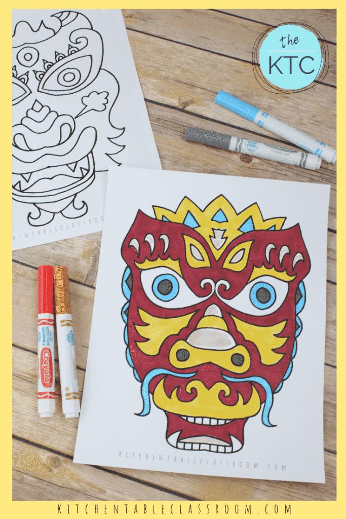 printable Chinese dragon masks