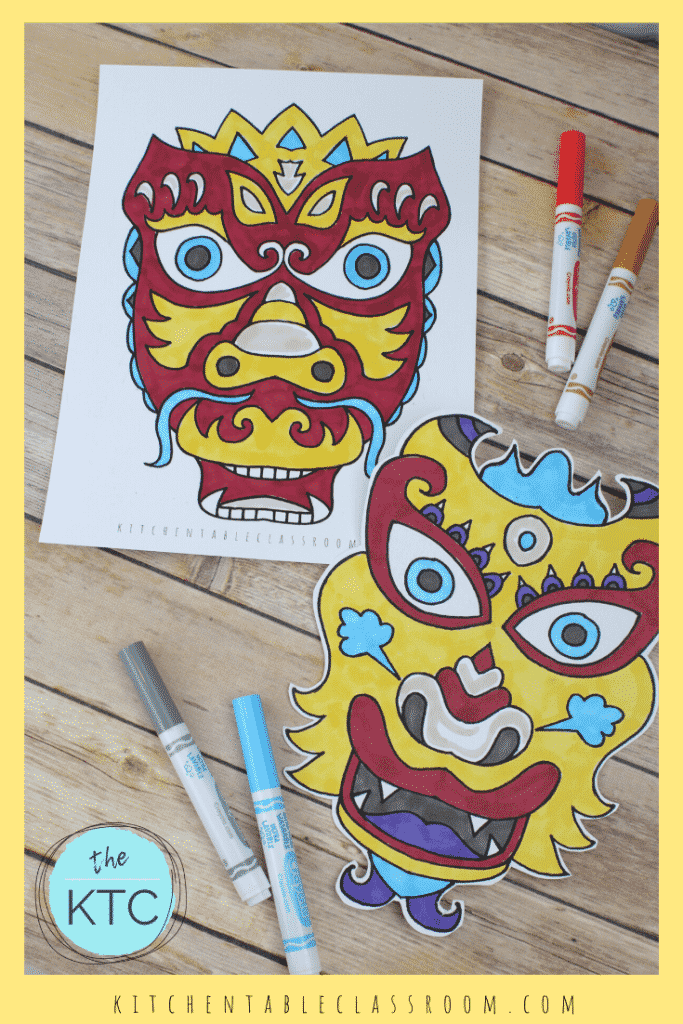 Chinese dragon masks to print and color