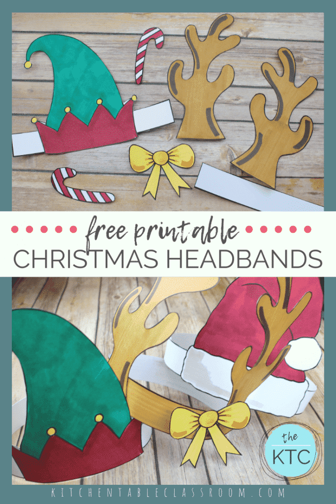 These Christmas hats print in black & white and are ready for your kiddos to add color & wear! Choose from a Santa hat, an elf hat, or a reindeer headband.