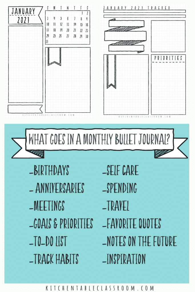 bullet journal monthly calendar templates