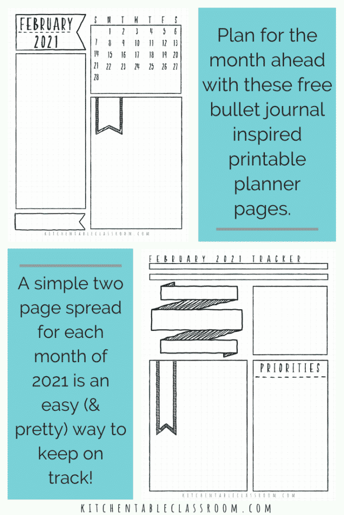 bullet journal 2021 monthly calendar templates