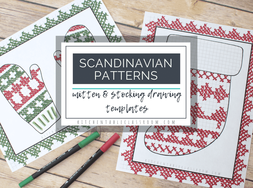 Draw Scandinavian patterns on these free mitten and stocking templates. #Scandinaviancrafts #stockingcrafts #mitten crafts #TheMIttencrafts