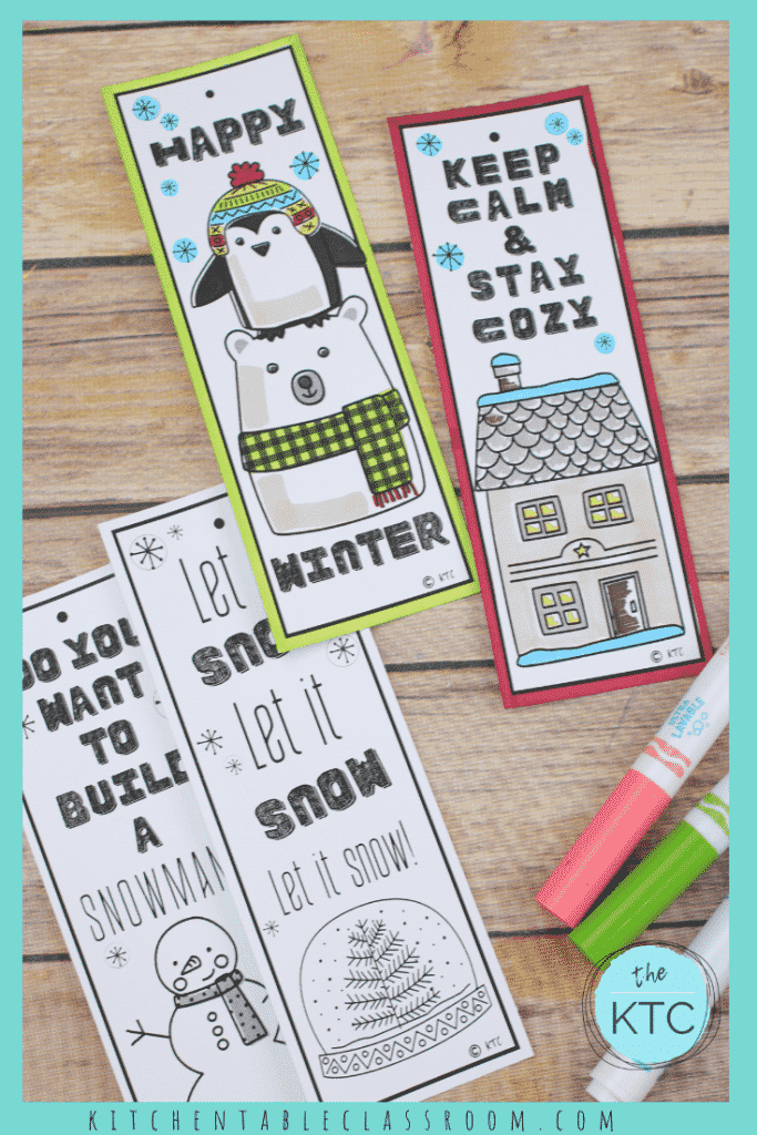 These free printable winter bookmarks are ready for your kiddos to add some color with crayons or markers!