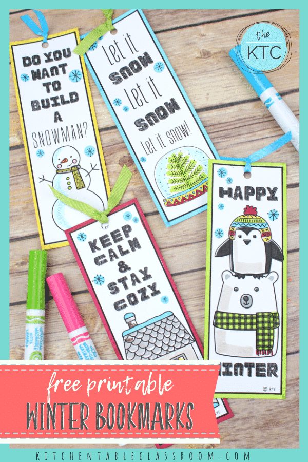Get your free printable winter themed bookmarks to color!