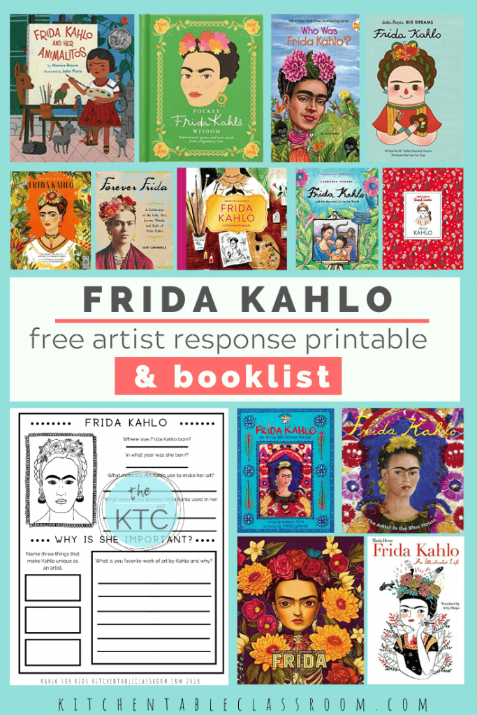Frida Kahlo book list and free Frida Kahlo printable artist study for kids