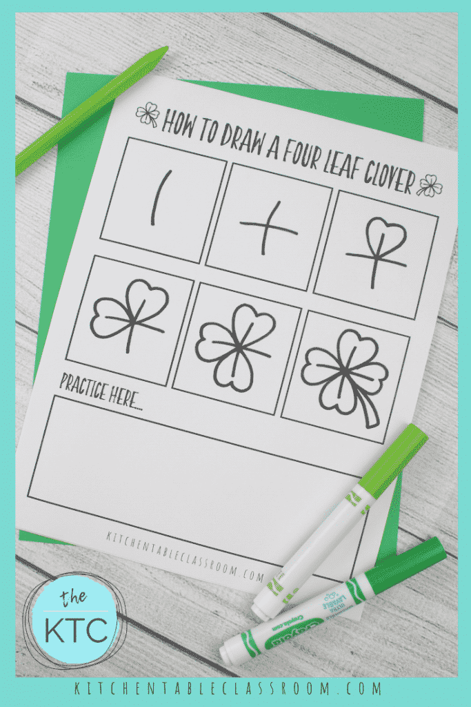 free printable about how to draw a four leaf clover