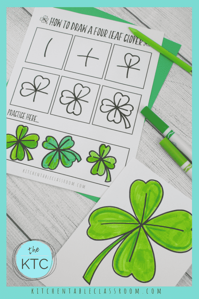 step by step instructions for how to draw a four leaf clover