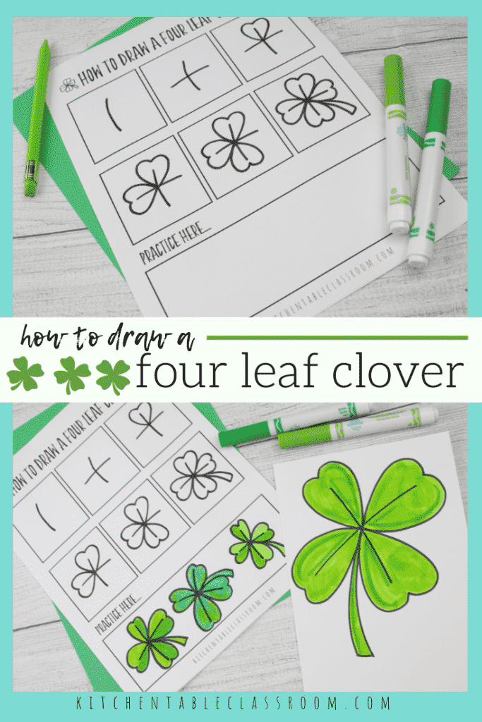 how to draw a four leaf clover drawing tutorial
