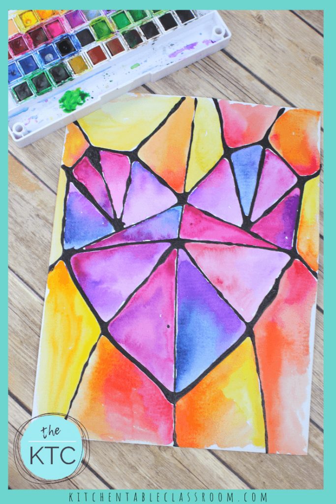 geometric heart painting with watercolors stained glass inspired