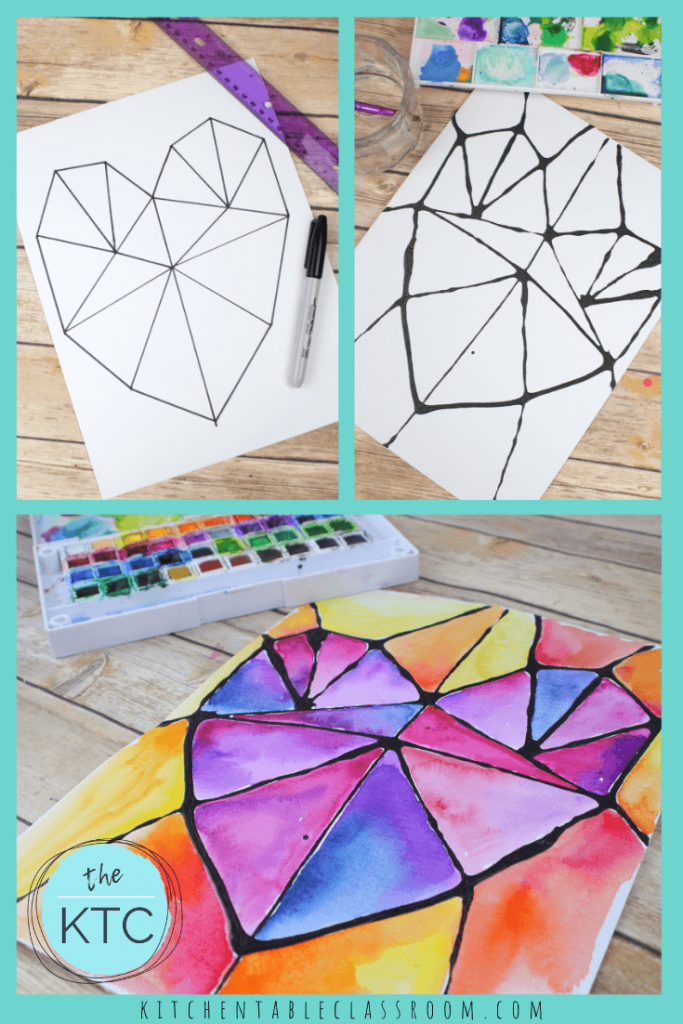 how to paint a heart that looks like stained glass