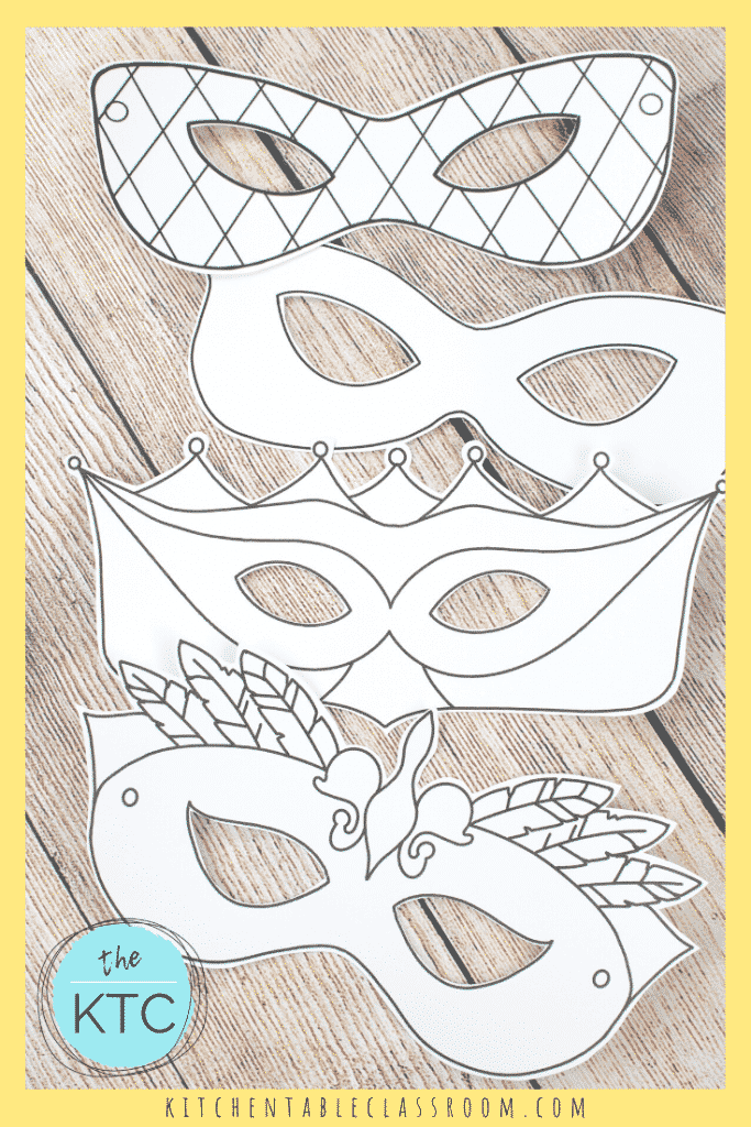 four black and white printable Mardi masks to color and decorate