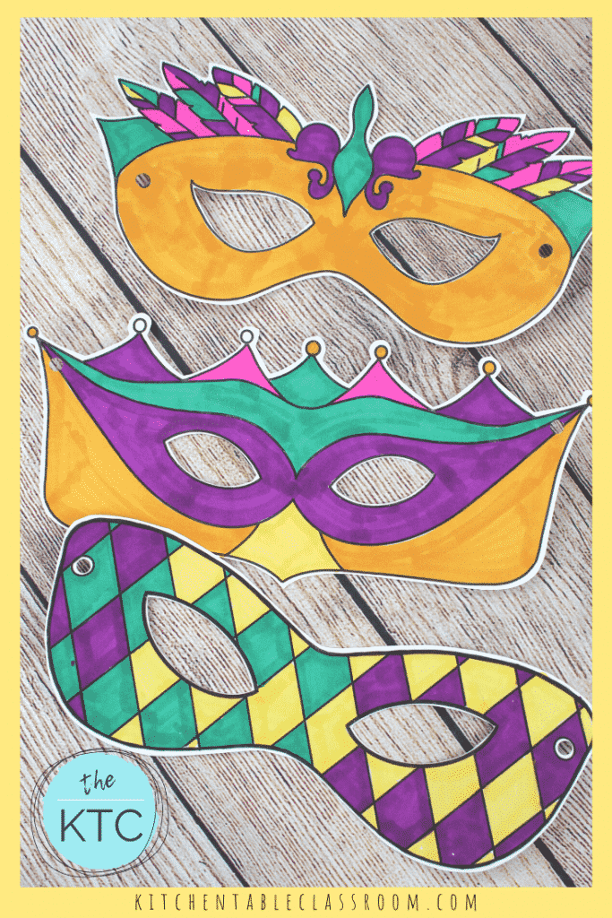 Mardi Gras masks for kids to color