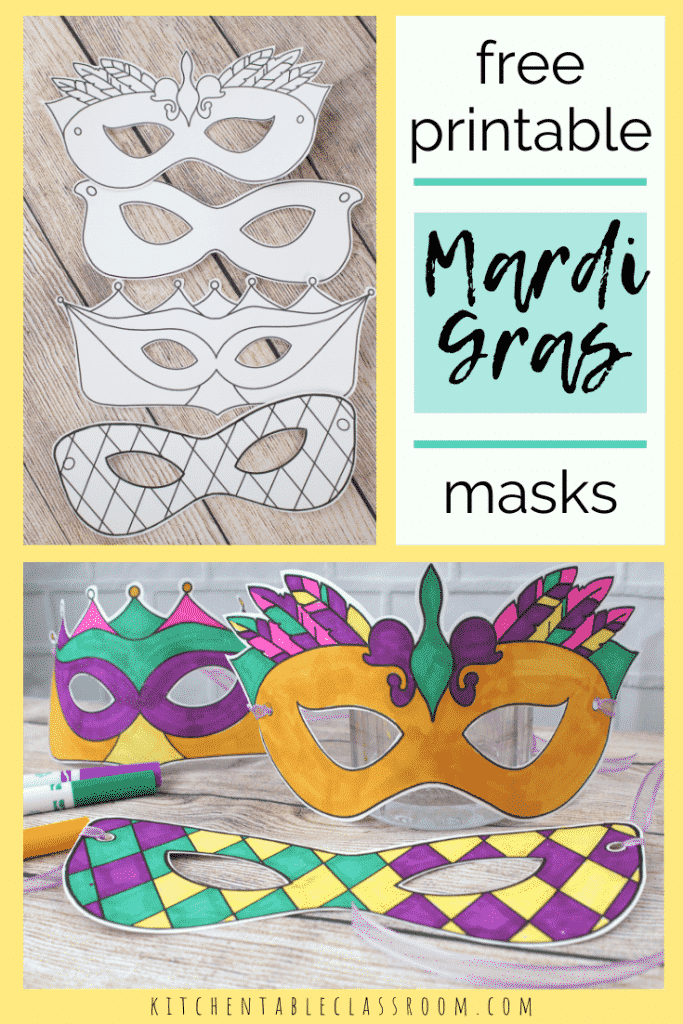 black and white Mardi gras masks and Mardi Gras masks colored with marker