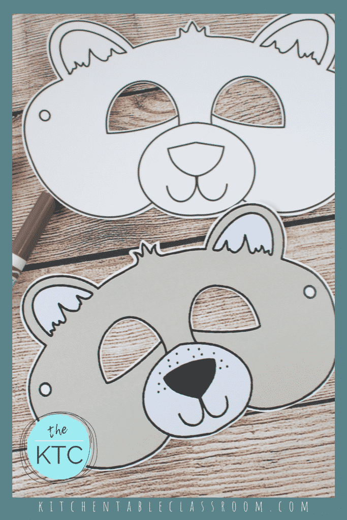 printable bear mask template in black and white and color