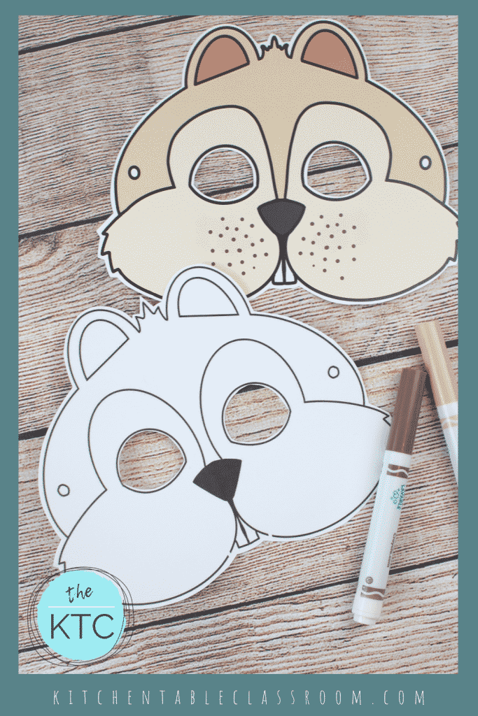 printable chipmunk mask template in black and white and color