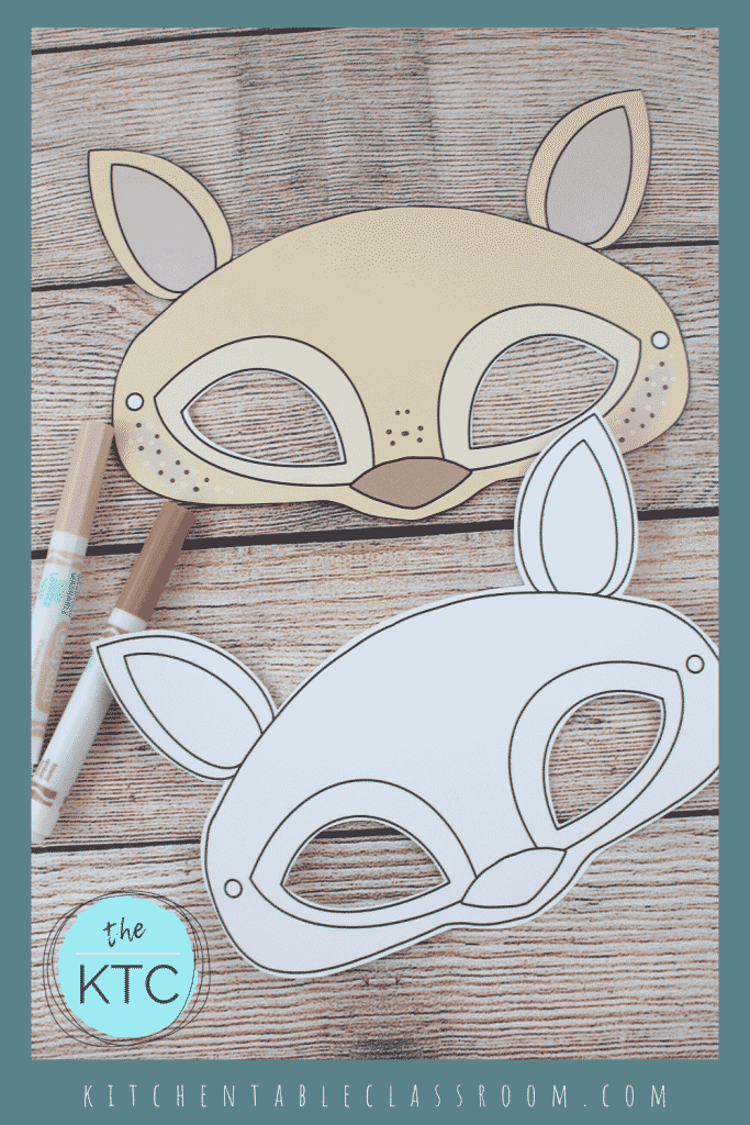 printable deer mask template in black and white and color