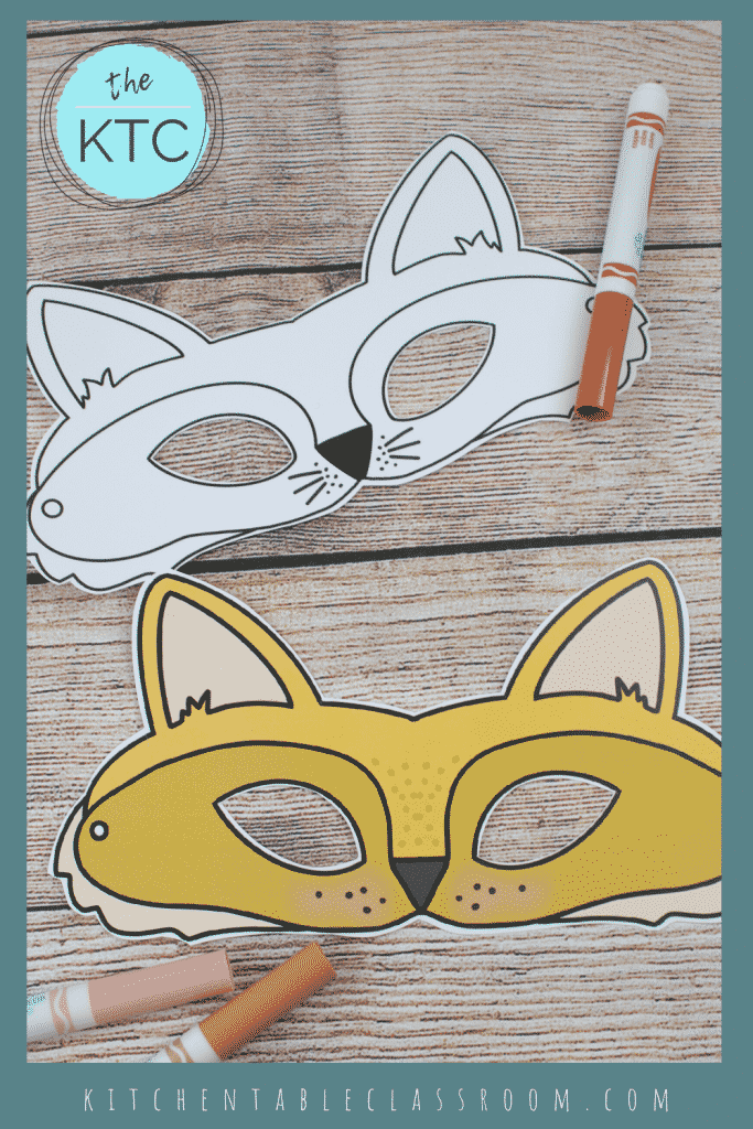 printable fox mask template in black and white and color