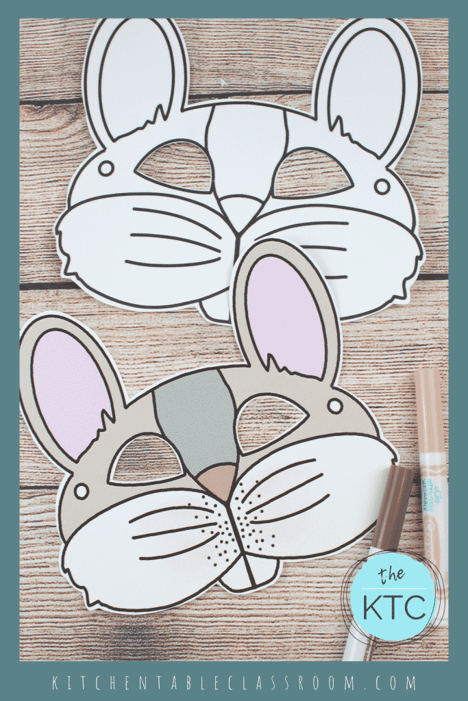 printable rabbit mask template in black and white and color