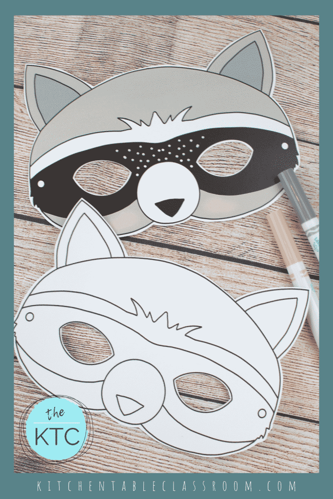 printable raccoon mask template in black and white and color