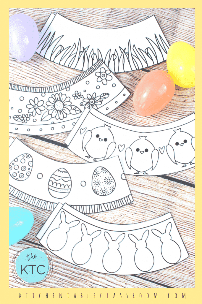 Black and white Easter egg holders for kids to color