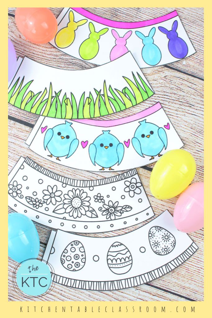 Easter egg holders decorated with peeps, chicks, flowers, Easter eggs, and grass motifs.