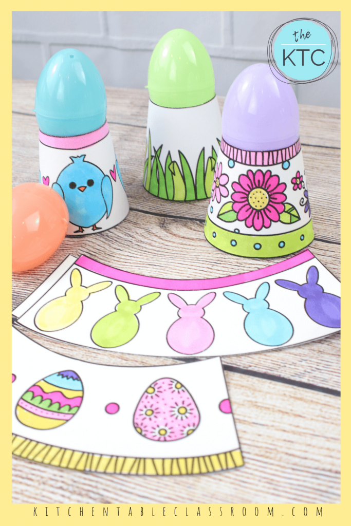 DIY Easter egg holders include patterned eggs, Peeps, flowers, grass, and chick motifs.