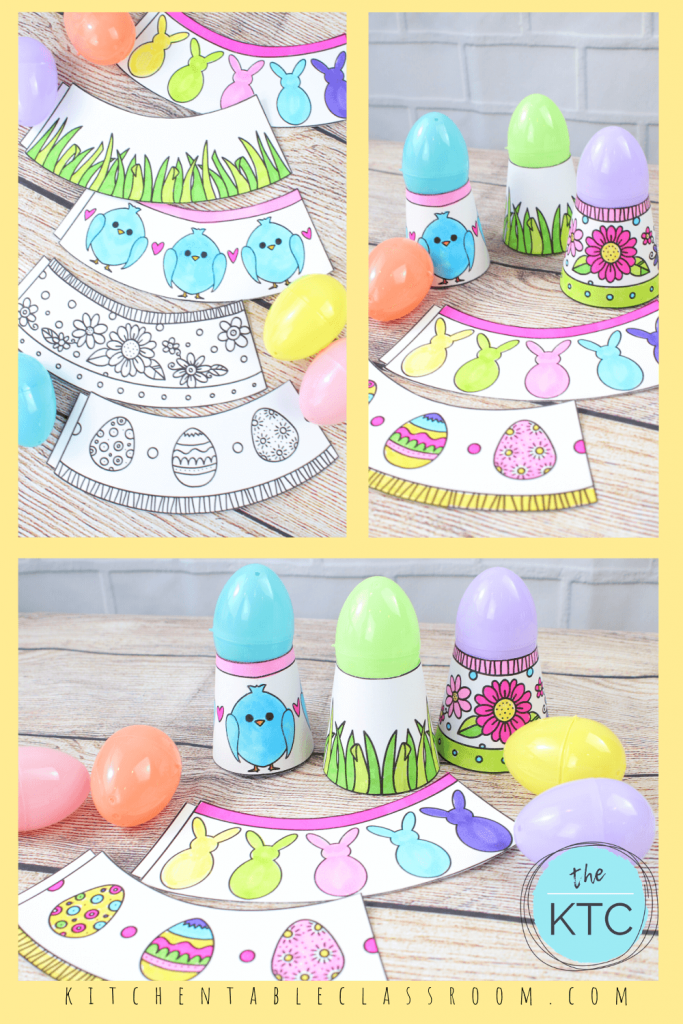 Easter egg holder that print in black and white, colored with markers