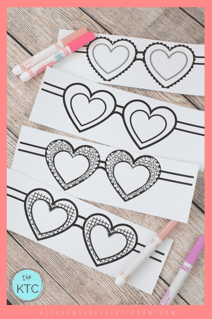 black and white paper heart shaped sunglasses to color