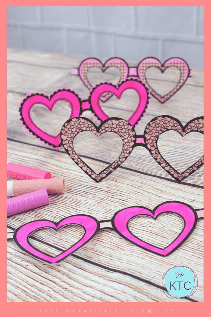 heart shaped paper sunglasses for kids to color with markers