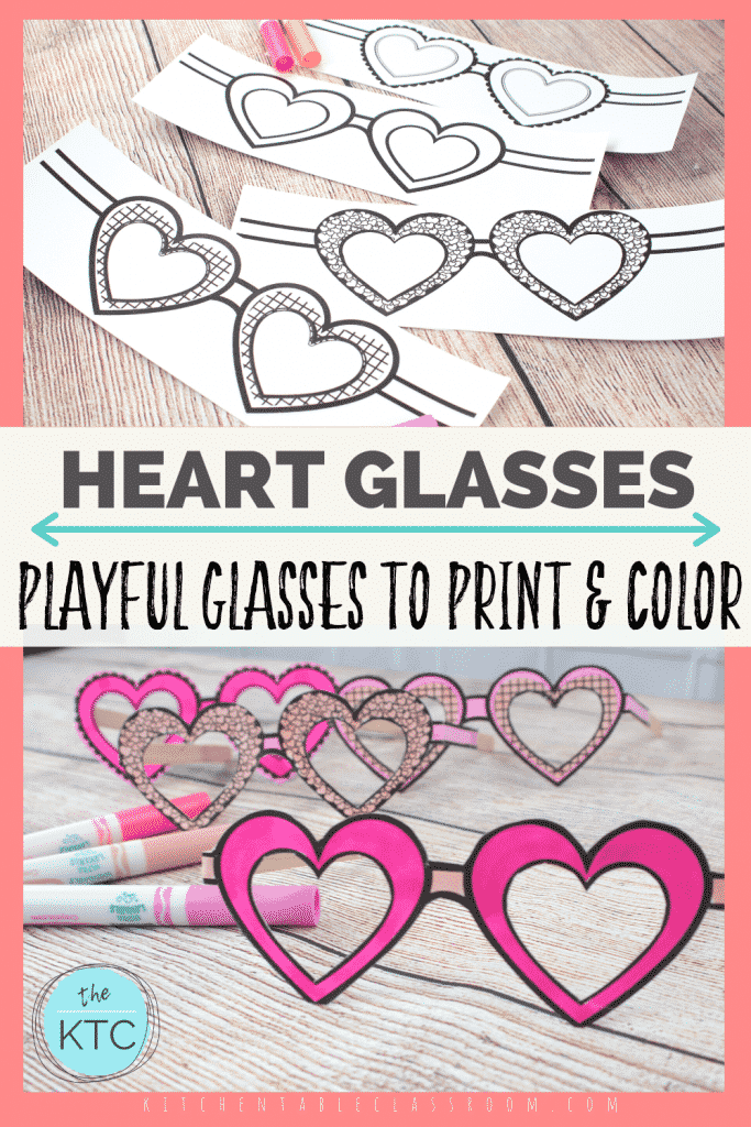 four free printable heart shaped glasses templates to print and color