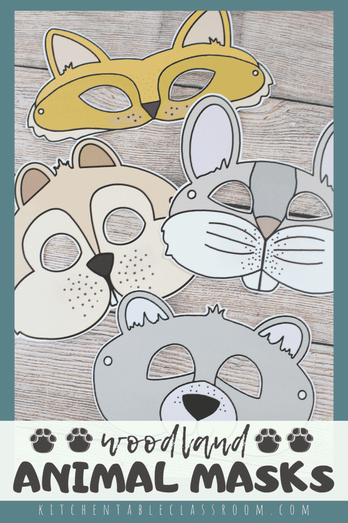 printable masks for kids including a fox mask, bear mask, rabbit mask, and a chipmunk mask