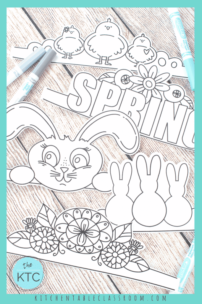 black and white printable Easter headbands for kids to color and wear