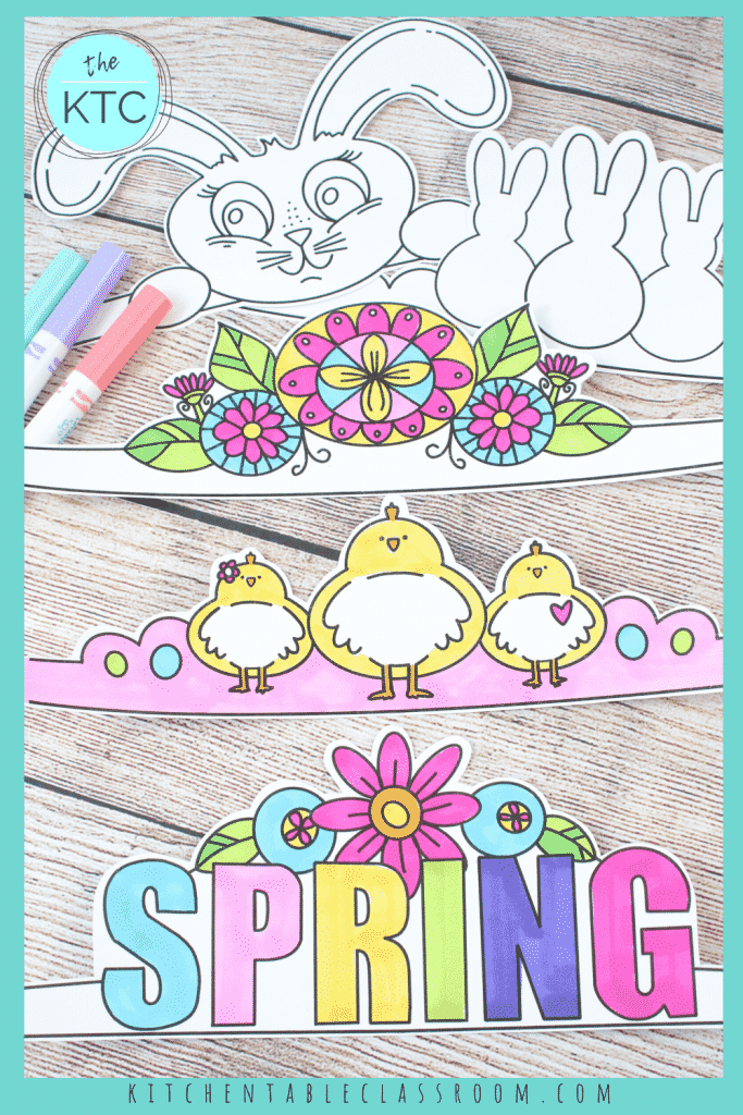 printable Easter headbands are an easy Easter craft and include a bunny, a chick, flowers, and more