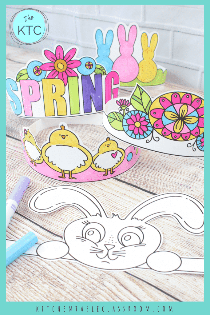printable Spring headbands for kids to color with markers and wear