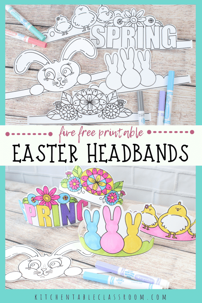 printable easter headbands including a chick headband, a bunny hears headband, a Peeps headband, a flower headband, and a Spring headband.