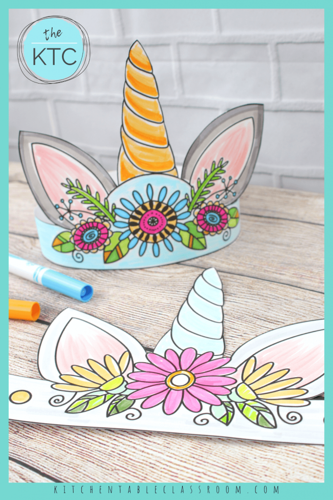 printable unicorn horn headbands with flowers to color