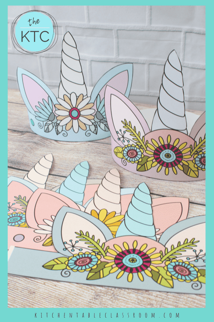 printable unicorn headbands with flowers